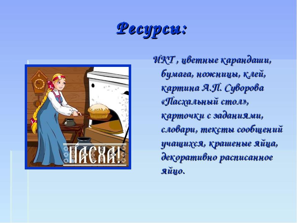Ресурсы: ИКТ , цветные карандаши, бумага, ножницы, клей, картина А.П. Суворов...