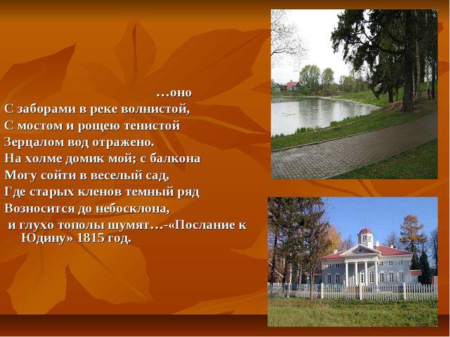 …оно С заборами в реке волнистой, С мостом и рощею тенистой Зерцалом вод отр...