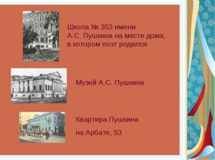 Школа № 353 имени А.С. Пушкина на месте дома, в котором поэт родился Музей А.