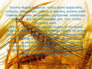 Тысяча людей трудятся, чтобы зерно вырастить, собрать, обмолотить, солоть и н