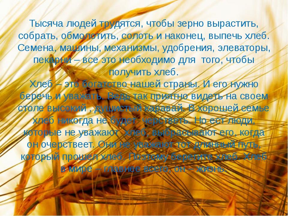 Тысяча людей трудятся, чтобы зерно вырастить, собрать, обмолотить, солоть и н...