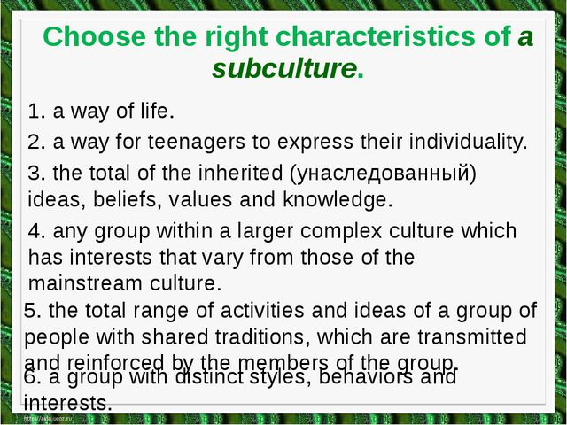 Choose the right characteristics of a subculture. 1. a way of life. 2. a way...