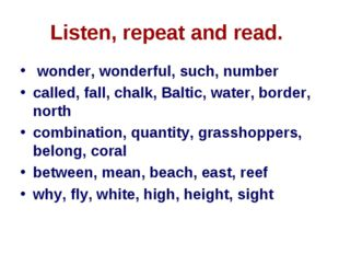 Listen, repeat and read. wonder, wonderful, such, number called, fall, chalk,
