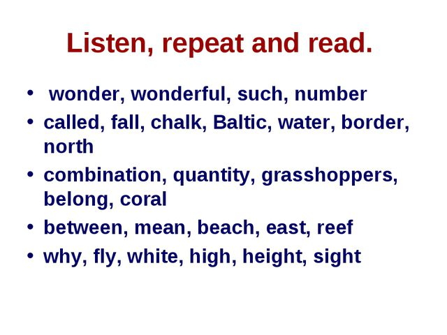 Listen, repeat and read. wonder, wonderful, such, number called, fall, chalk,...