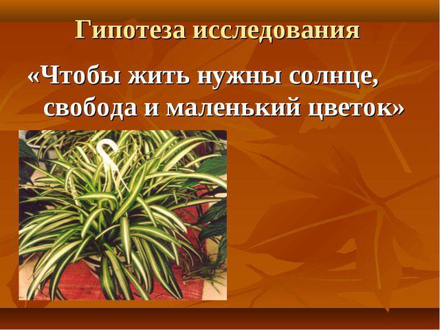 Гипотеза исследования «Чтобы жить нужны солнце, свобода и маленький цветок» Г...