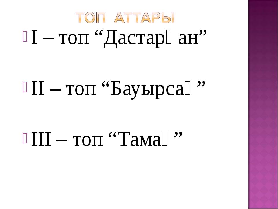 """І – топ """"Дастарқан"""" ІІ – топ """"Бауырсақ"""" ІІІ – топ """"Тамақ"""""""