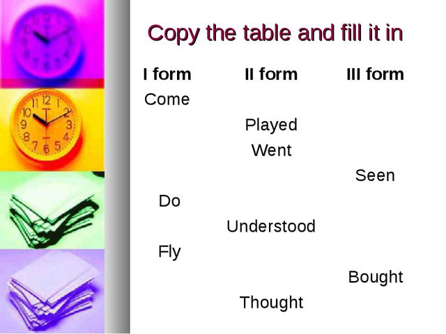 Copy the table and fill it in