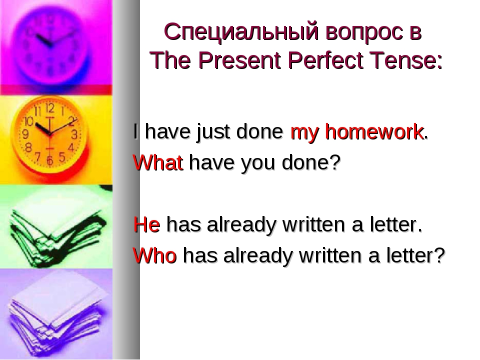 Специальный вопрос в The Present Perfect Tense: I have just done my homework....
