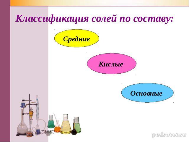 Классификация солей по составу: Средние Кислые Основные