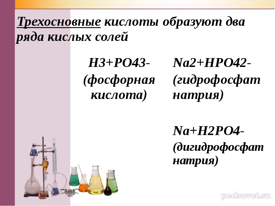 Трехосновные кислоты образуют два ряда кислых солей H3+РO43- (фосфорная кисло...
