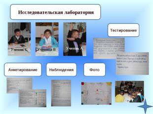 Исследовательская лаборатория Ученик А Ученица В Ученик С Фото Наблюдения Анк