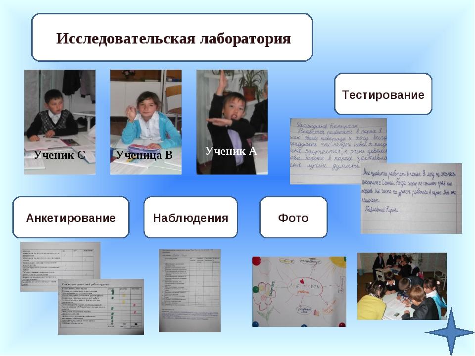 Исследовательская лаборатория Ученик А Ученица В Ученик С Фото Наблюдения Анк...