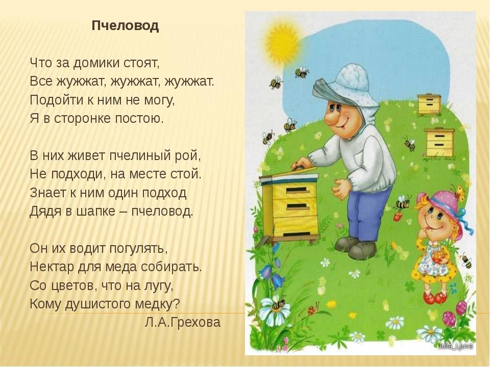 Пчеловод Что за домики стоят, Все жужжат, жужжат, жужжат. Подойти к ним не мо...