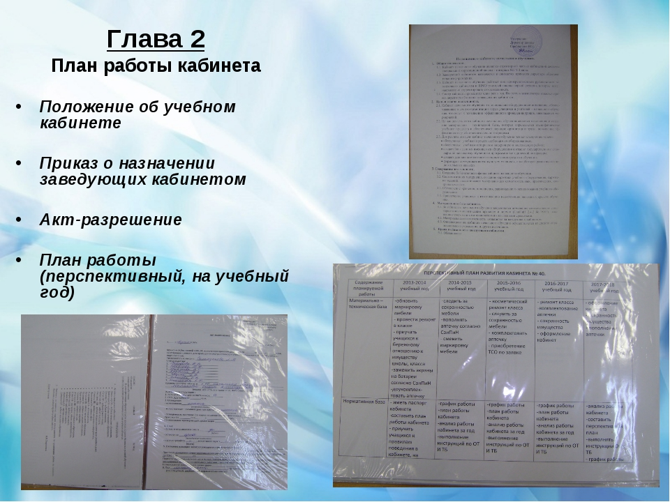 Глава 2 План работы кабинета Положение об учебном кабинете Приказ о назначени...