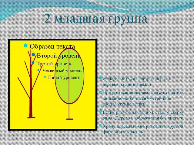 2 младшая группа Желательно учить детей рисовать деревья на линии земли При р...