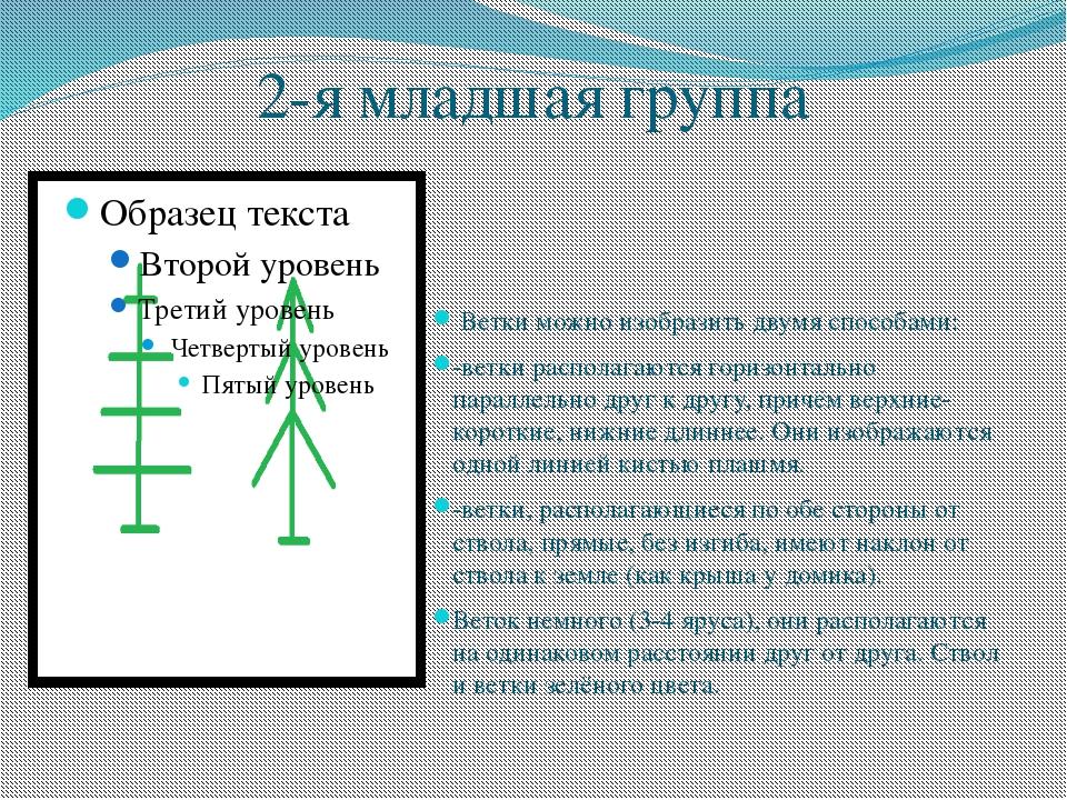 2-я младшая группа Ветки можно изобразить двумя способами: -ветки располагают...