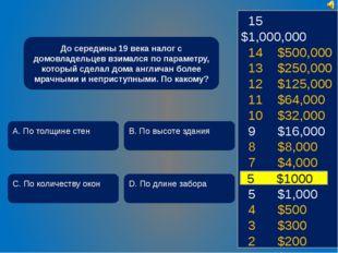 15 $1,000,000 14 $500,000 13 $250,000 12 $125,000 11 $64,000 10 $32,000 9 $1