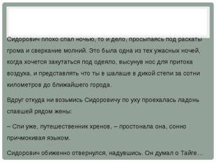 Сидорович плохо спал ночью, то и дело, просыпаясь под раскаты грома и сверка