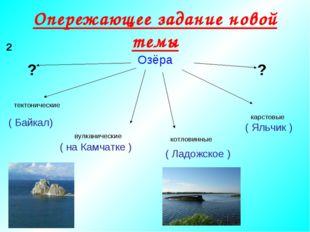 Опережающее задание новой темы Озёра тектонические вулканические карстовые (