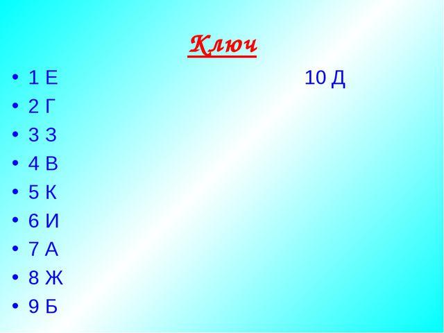Ключ 1 Е 10 Д 2 Г 3 З 4 В 5 К 6 И 7 А 8 Ж 9 Б