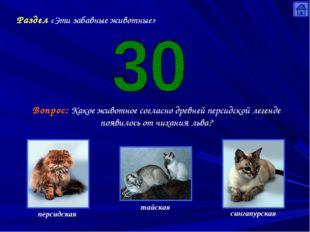 Раздел «Эти забавные животные» Вопрос: Какое животное согласно древней персид
