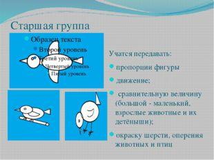 Старшая группа Учатся передавать: пропорции фигуры движение; сравнительную ве