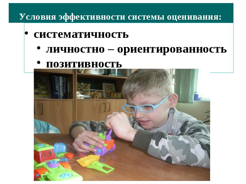 систематичность личностно – ориентированность позитивность Условия эффективно...