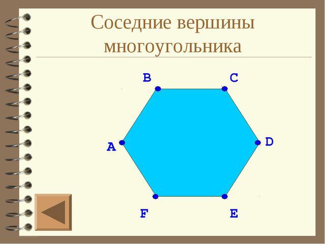 Соседние вершины многоугольника A F E C B D