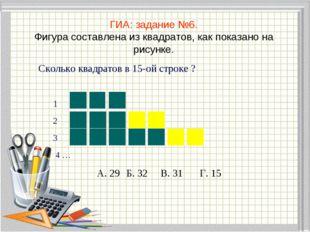 ГИА: задание №6. Фигура составлена из квадратов, как показано на рисунке. Ско