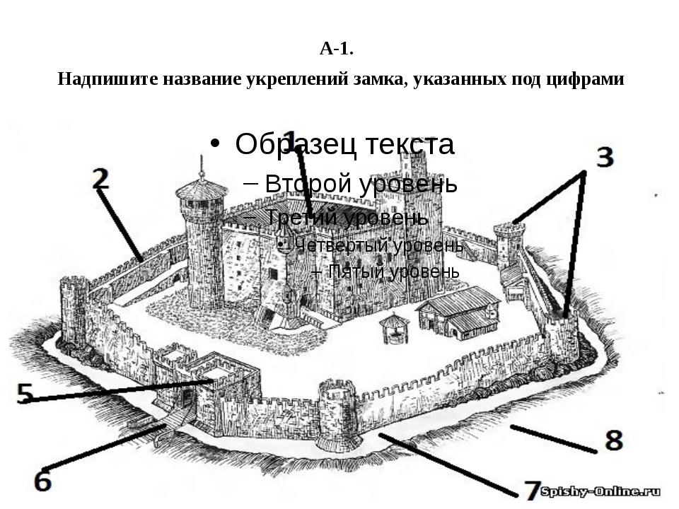 А-1. Надпишите название укреплений замка, указанных под цифрами