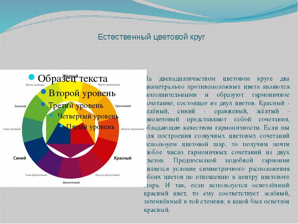 Естественный цветовой круг На двенадцатичастном цветовом круге два диаметрал...
