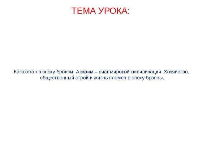 Казахстан в эпоху бронзы. Аркаим – очаг мировой цивилизации. Хозяйство, общес...