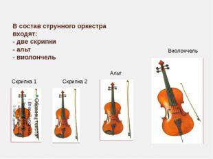В состав струнного оркестра входят: - две скрипки - альт - виолончель Скрипка
