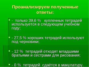 Проанализируем полученные ответы: - только 39,6 % купленных тетрадей использу