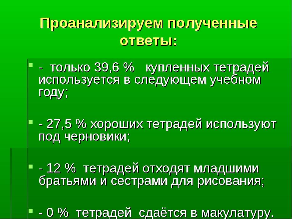 Проанализируем полученные ответы: - только 39,6 % купленных тетрадей использу...