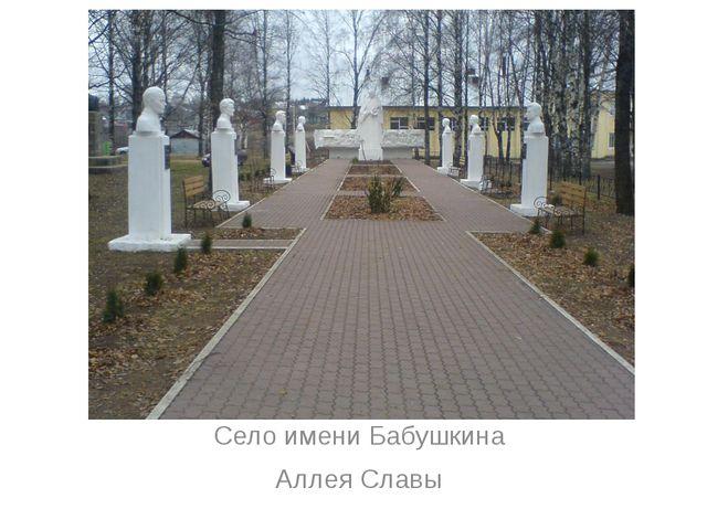Село имени Бабушкина Аллея Славы