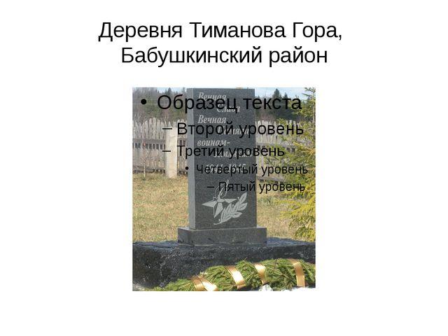 Деревня Тиманова Гора, Бабушкинский район