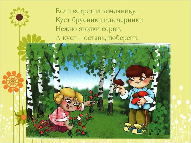 Если встретил землянику, Куст брусники иль черники Нежно ягодки сорви, А куст...