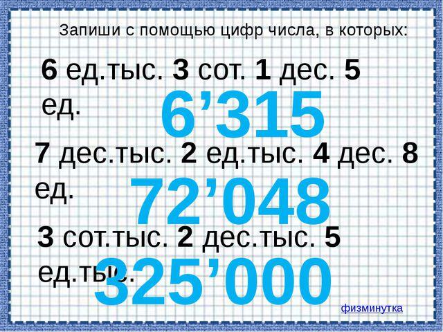 Запиши с помощью цифр числа, в которых: 6 ед.тыс. 3 сот. 1 дес. 5 ед. 7 дес.т...