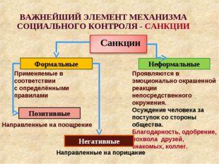 ВАЖНЕЙШИЙ ЭЛЕМЕНТ МЕХАНИЗМА СОЦИАЛЬНОГО КОНТРОЛЯ - САНКЦИИ Формальные Неформа