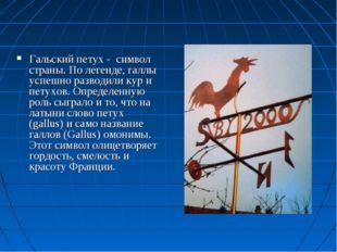 Гальский петух - символ страны. По легенде, галлы успешно разводили кур и пет