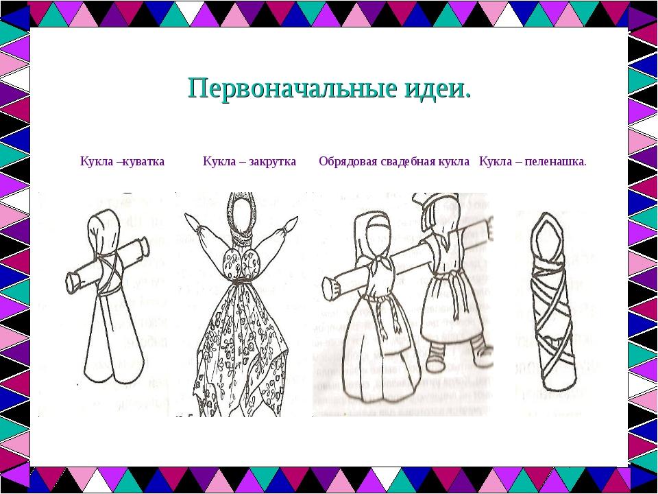 Первоначальные идеи. Кукла –куватка Кукла – закрутка Обрядовая свадебная кукл...