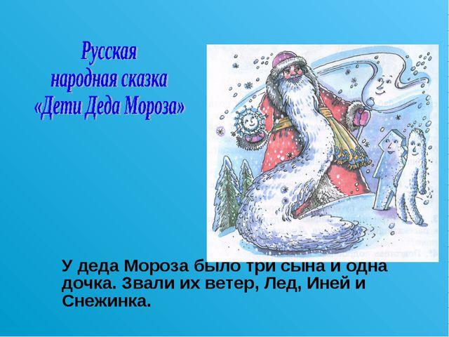 У деда Мороза было три сына и одна дочка. Звали их ветер, Лед, Иней и Снежин...