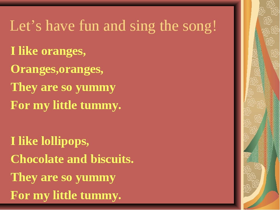 Let's have fun and sing the song! I like oranges, Oranges,oranges, They are s...