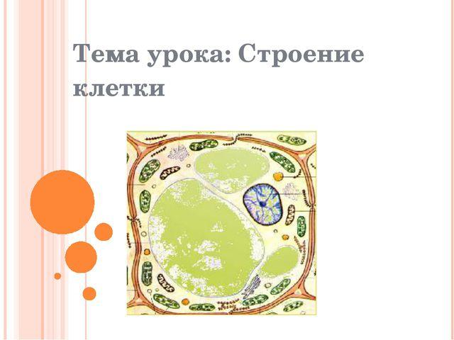 Тема урока: Строение клетки