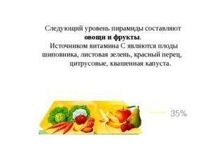 Следующий уровень пирамиды составляют овощи и фрукты. Источником витамина С я