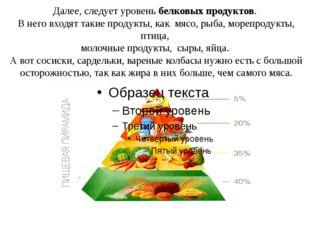 Далее, следует уровень белковых продуктов. В него входят такие продукты, как
