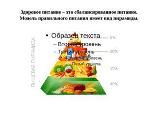 Здоровое питание – это сбалансированное питание. Модель правильного питания и