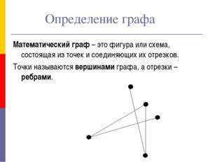 Определение графа Математический граф – это фигура или схема, состоящая из т