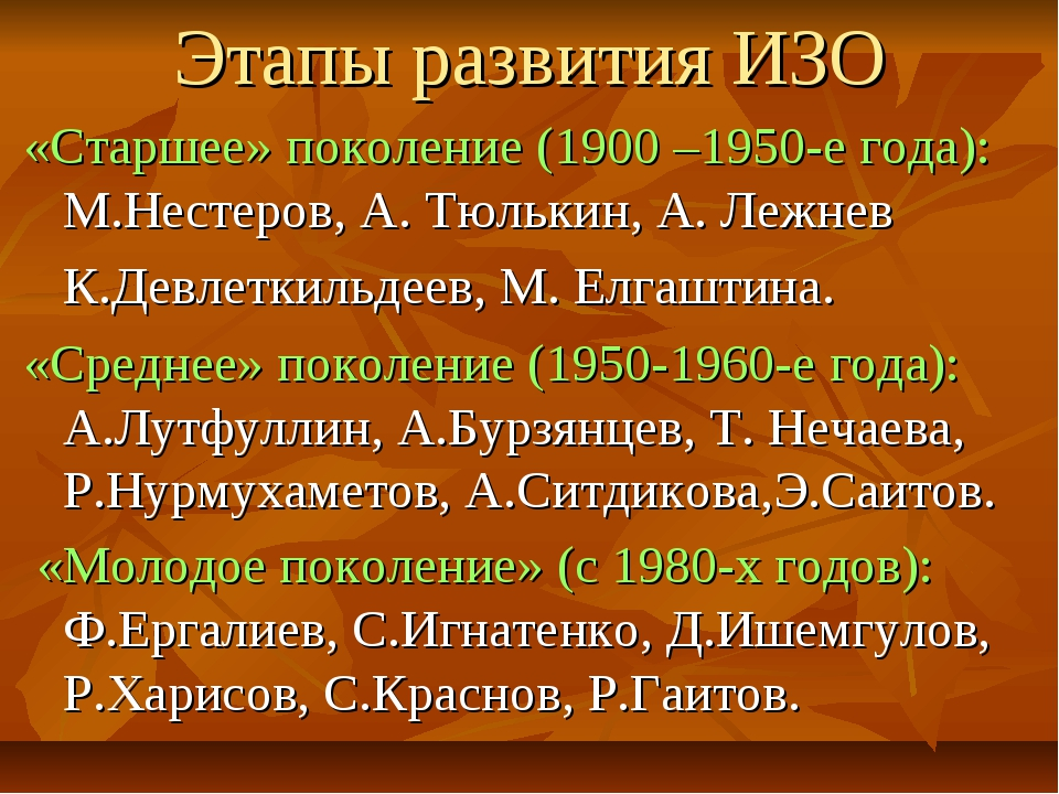 Этапы развития ИЗО «Старшее» поколение (1900 –1950-е года): М.Нестеров, А. Тю...
